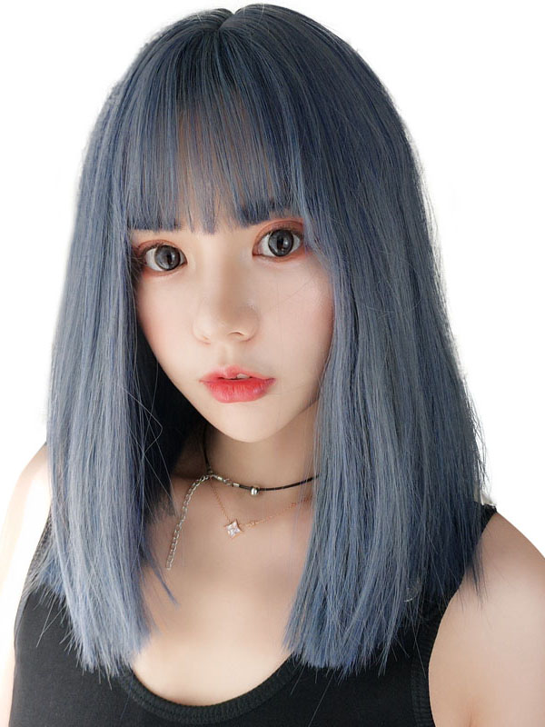 "14"" Grey Mixed Straight Wefted Cap Wig- edw4047"