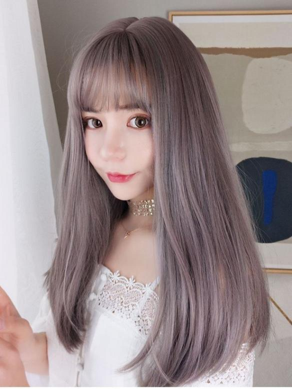 Gray Pink Straight Wefted Cap Wig With Bangs-edw4100