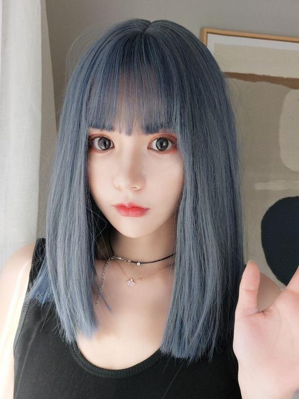 "14"" Blue Straight Wefted Cap Wig with bangs - edw4104"