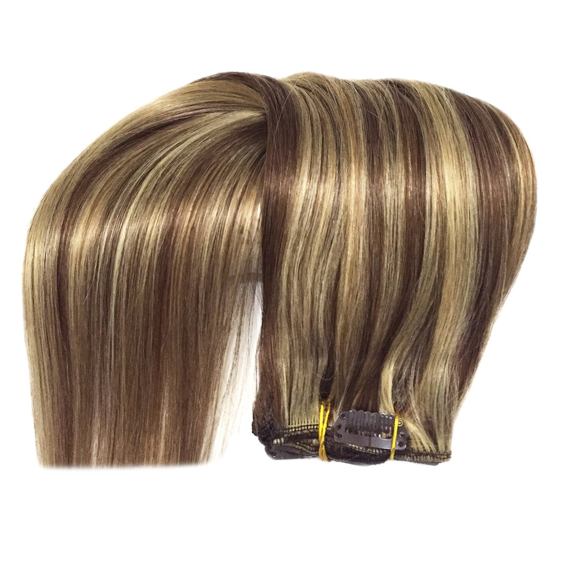 Brown highlight Blonde Clip in Hair Extensions-edw5008