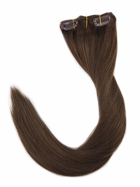 Brown Clip in Hair Extensions (#4)-edw5009