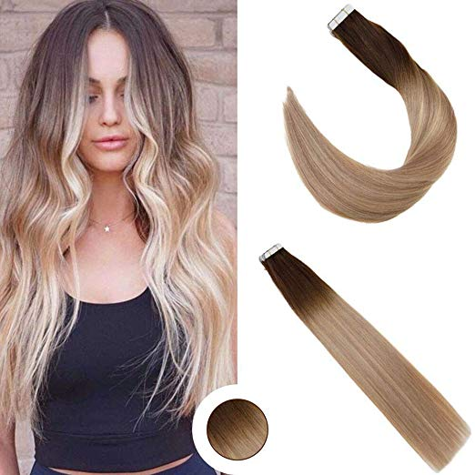 Ombre Brown Tape in Hair Extensions ( #2)-edw5014