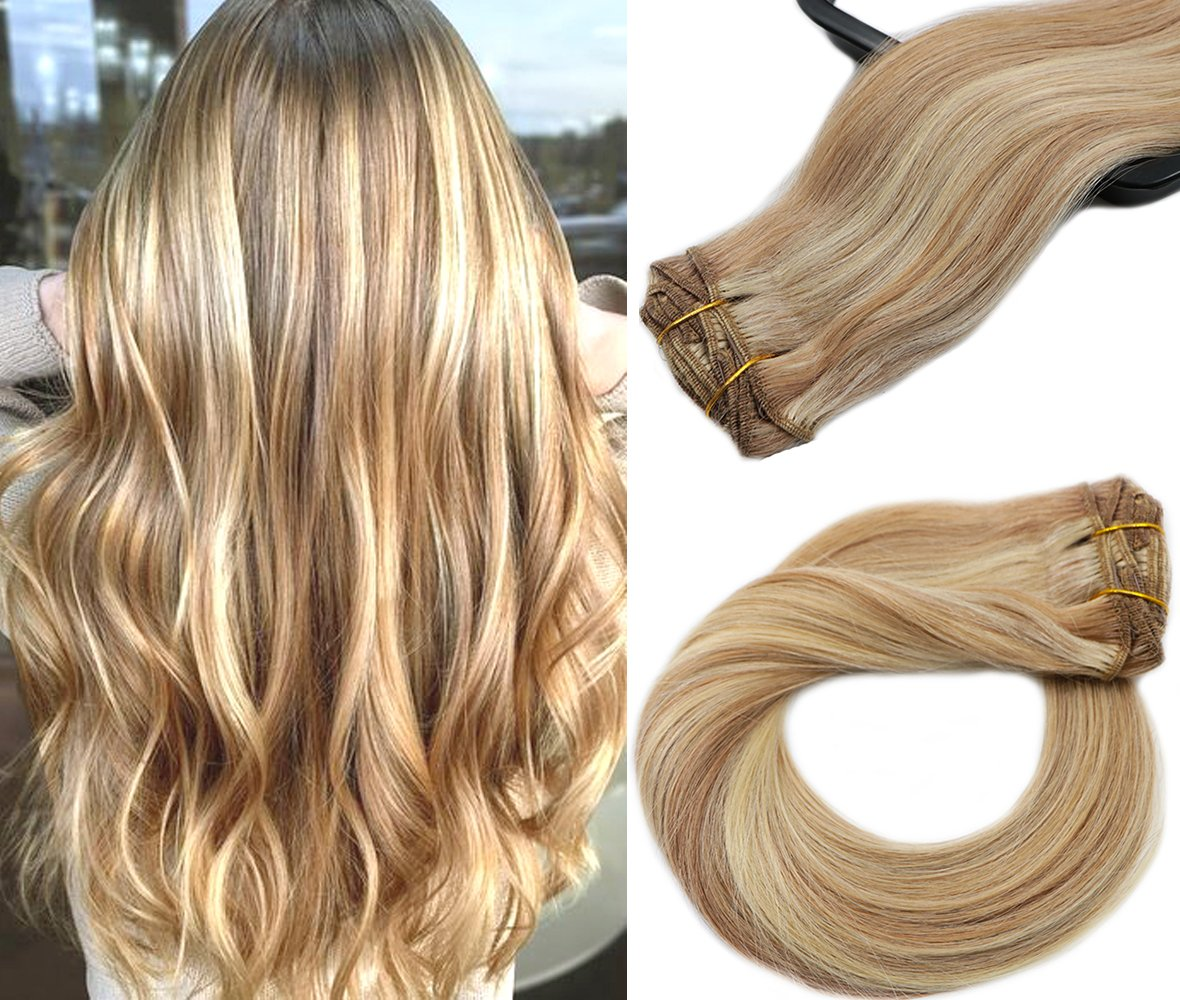 Blonde Highligted Clip in Hair Extensions-edw5019