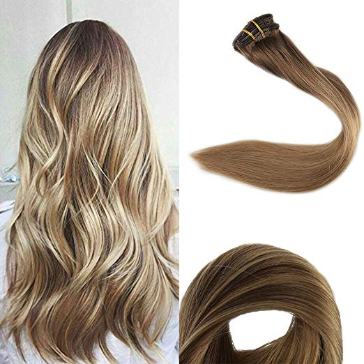 Ombre Blonde Clip in Hair Extensions #10/#14-edw5100 - Click Image to Close