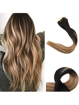Ombre Blonde Clip in Hair Extensions #1b#8#12-edw5102
