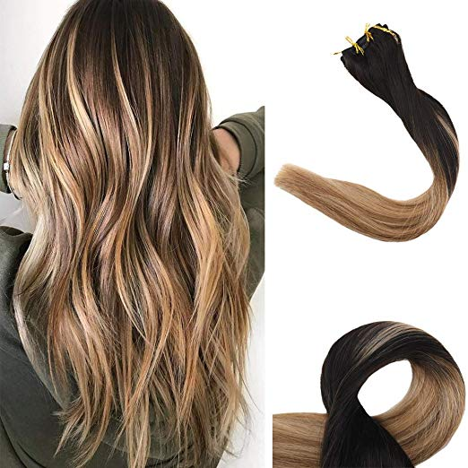 Ombre Blonde Clip in Hair Extensions #1b#8#12-edw5102 - Click Image to Close