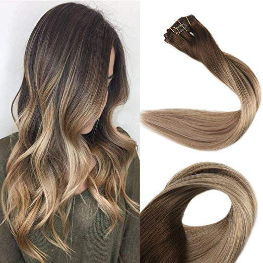 Ombre Blonde Clip in Hair Extensions #4/#18/#27-edw5103 - Click Image to Close