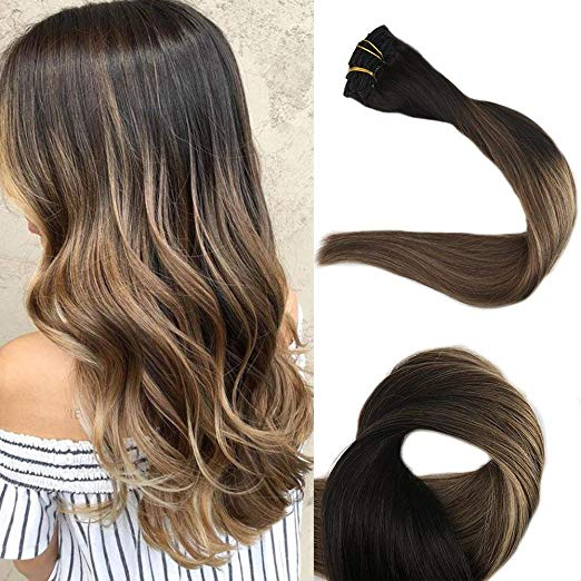 Ombre Blonde Clip in Hair Extensions #1B/#6/#27-edw5104 - Click Image to Close
