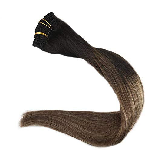 Ombre Blonde Clip in Hair Extensions #1B/#6/#27-edw5104