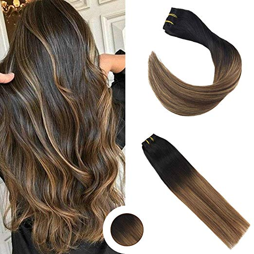 Black Mix Dark Brown Clip in Hair Extensions #1B/M4/27-edw5107 - Click Image to Close