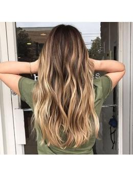 Ombre Brown Highlight Clip in Hair Extensions #4#27#14#4-edw5108