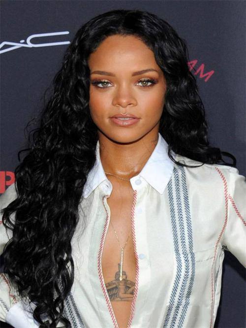 Rihanna Curly Human Hair Lace Wigs-edw7012